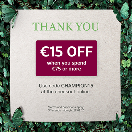 €15 off €75 bounce back Voucher