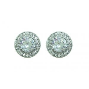 Tipperary Crystal Round Pave Earrings