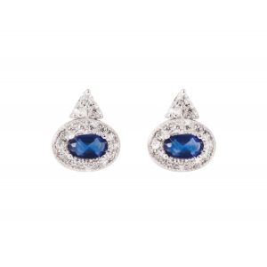 Tipperary Crystal Sapphire Oval Earrings
