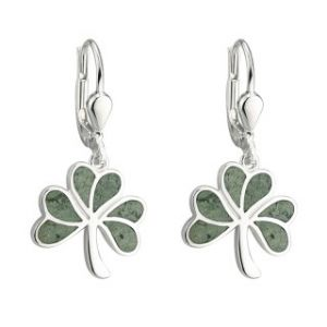 Solvar Sterling Silver Marble Shamrock Drop Earrings