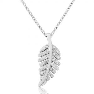Waterford Crystal Jewellery Silver Pendant White Crystal Leaf
