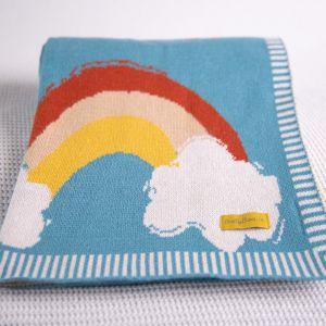 Babyboo Painted Rainbows Teal Blanket