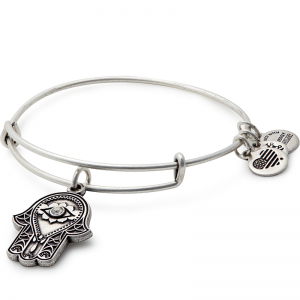 Alex and Ani Hand of Fatima III Silver Bangle