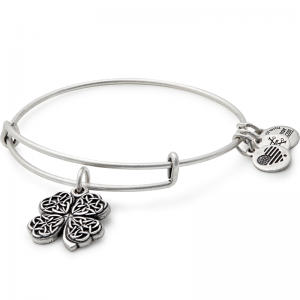 Alex and Ani Four Leaf Clover IV Silver Bangle