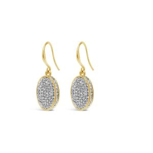Absolute Gold Oval Crystal Earrings