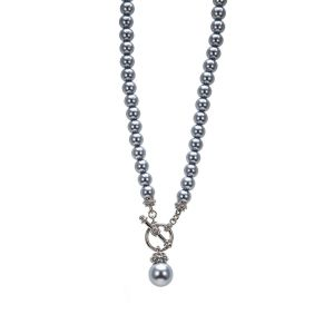 Absolute Jewellery Grey Pearl Fob Necklace