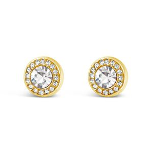 Absolute Round Stud Crystal Earrings Gold