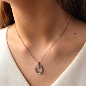 Absolute Silver Crystal Circle Pendant Necklace