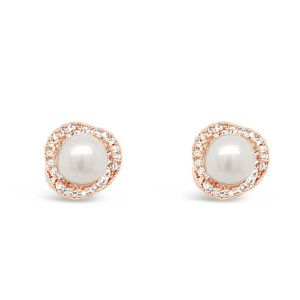 Absolute Pearl Crystal Rose Gold Stud Earrings