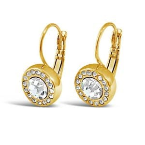 Absolute Swarovski Circle Drop Gold Earrings
