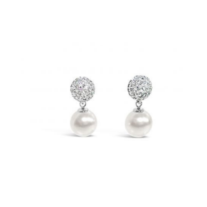 Absolute Crystal Encrusted Cream Pearl Earrings
