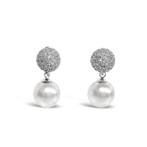 Absolute Crystal Encrusted Grey Pearl Earrings