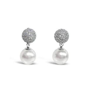 Absolute Crystal Encrusted Grey Pearl Earrings