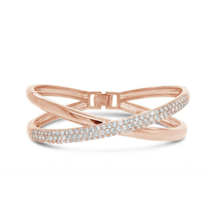 Absolute Rose Gold Clear Crystal Stones Bangle