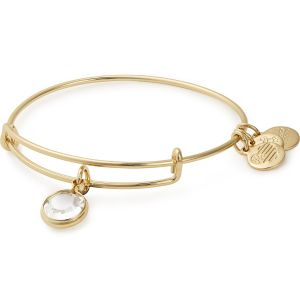 Alex and Ani Clear Crystal April Gold Bangle