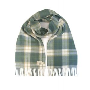Avoca Green Check Merino Wool Scarf