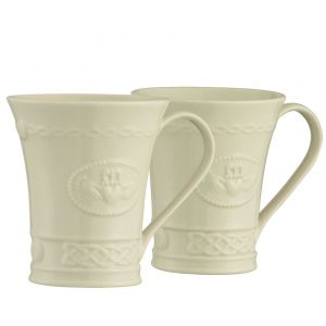 Belleek Claddagh China Mugs Set of 2
