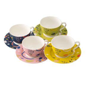 Belleek Verdant Set of 4 Teacups & Saucers