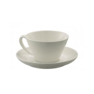 Belleek Ripple Teacup & Saucer Set of 4