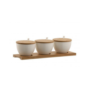 Belleek Ripple Three Bowls Set with Tray