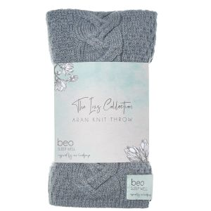 Beo The Inis Collection Aran Knit Grey Throw
