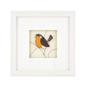Black Hen Robin Framed Print