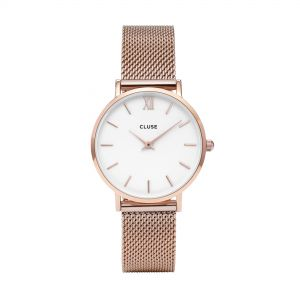 Cluse Minuit Mesh Rose Gold/White