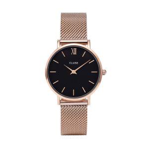 Cluse Minuit Mesh Rose Gold/Black Watch