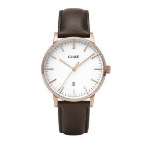 Cluse Aravis Dark Brown Leather Strap Watch