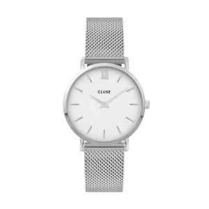 Cluse Minuit Mesh Silver/White Watch