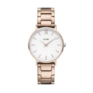Cluse Minuit Three Link Rose Gold Watch