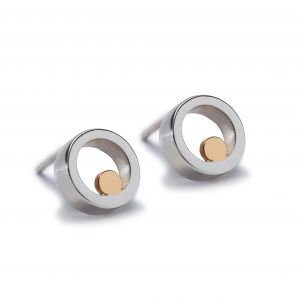 Maureen Lynch Circles Small Silver & Gold Stud Earrings