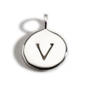 Enibas Anam Silver Initial V Charm