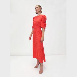 Fee G Contrasting Jacquard Red Dress