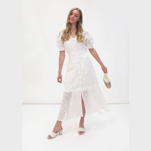 Fee G Embroidered Anglaise White Dress