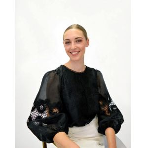 Fee G Embroidered Anglaise Black Top