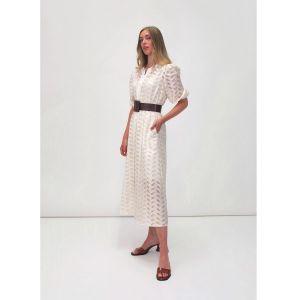 Fee G Laser Cut Belt Button Cream Dress