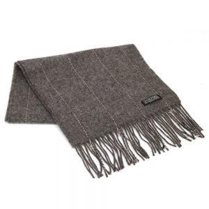 Foxford Grey Pinstripe Lambswool Scarf
