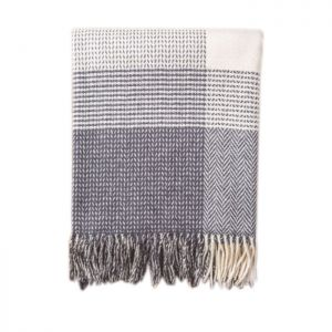 Foxford Grey, Bone & White Large Block Throw