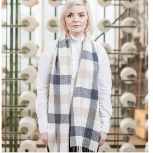 Foxford Lambswool White/Ox/Sand Scarf