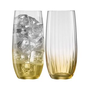 Galway Crystal Erne Amber Set of 2 Hiball Glasses