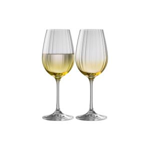 Galway Crystal Amber Set of 2 Wine Glasses