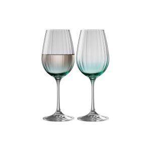 Galway Crystal Aqua Set of 2 Wine Glasses