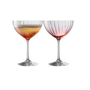 Galway Crystal Erne Blush Set of 2 Champagne Saucers