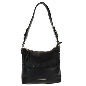 Gionni Black Flapover Shoulder Bag