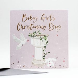 Baby Girl's Christening Card