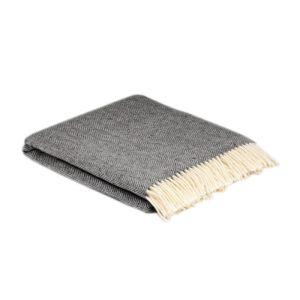 McNutt of Donegal Herringbone Storm Grey Blanket