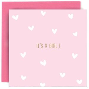 Its a girl pink baby card.