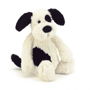Jellycat Medium Bashful Black & Cream Puppy