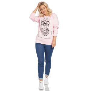 Jill & Gill Iris Apfel Pink Sweater model front